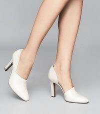 REISS AMELIE LEATHER HIGH HEELS OFF WHITE
