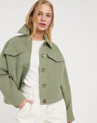 & Other Stories cropped pocket-detail jacket in pistachio green