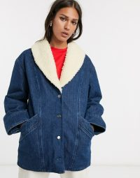 & Other Stories denim faux shearling trim overcoat in blue wash