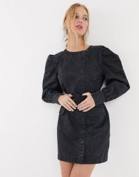 & Other Stories puff sleeve button-detail denim mini dress in washed black