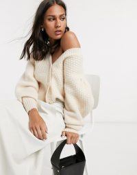 & Other Stories puff sleeve panelled cardigan in beige