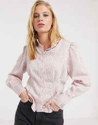 & Other Stories stripe puff sleeve blouse in pink – striped cinched waist shirts