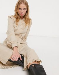 & Other Stories tie-waist ruffle detail midi dress in beige