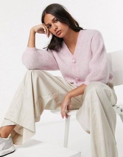 & Other Storiesballoon sleeve fluffy cardigan in lilac – feminine knitwear - flipped