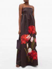 BORGO DE NOR Anastasia floral-print satin-twill dress black
