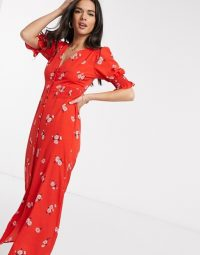 ASOS DESIGN red button through maxi tea dress with shirred waist in floral print