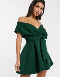 ASOS DESIGN fallen shoulder skater mini dress with tie detail forest green – bardot fit and flare