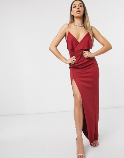 ASOS DESIGN fold front scuba maxi dress with thigh split in red - flipped