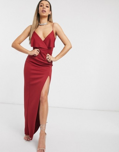 ASOS DESIGN fold front scuba maxi dress with thigh split in red