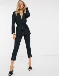 ASOS DESIGN jersey tie waist suit in black – cropped trousers and jackets – pant suits