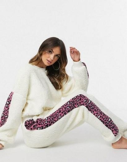 ASOS DESIGN lounge leopard stripe borg sweat and jogger set in cream - flipped