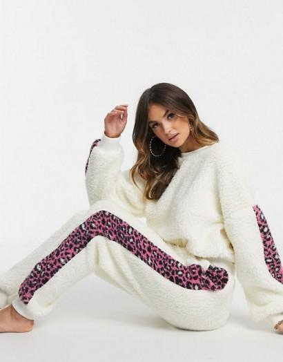 ASOS DESIGN lounge leopard stripe borg sweat and jogger set in cream