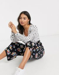 ASOS DESIGN Petite mixed spot and floral print tea jumpsuit