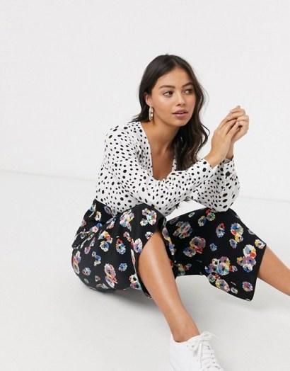 ASOS DESIGN Petite mixed spot and floral print tea jumpsuit - flipped