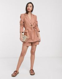 ASOS DESIGN splendid linen suit in fudge – suits
