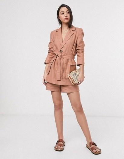 ASOS DESIGN splendid linen suit in fudge – suits - flipped