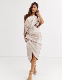 ASOS EDITION drape asymmetric midi dress in blush satin