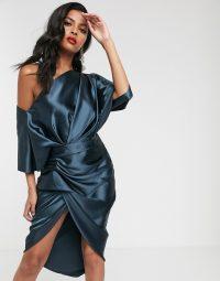ASOS EDITION drape asymmetric midi dress in navy satin