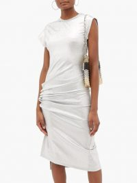 PACO RABANNE Asymmetric gathered lamé dress in silver