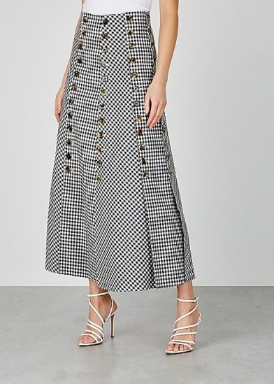 A.W.A.K.E MODE Monochrome gingham twill skirt - flipped