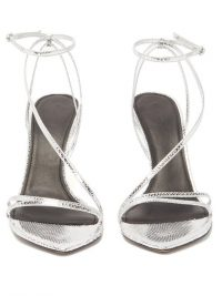 ISABEL MARANT Axee snake-effect metallic-leather sandals in silver | strappy evening heels