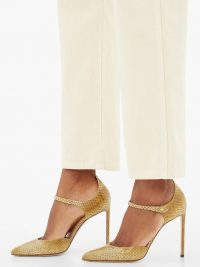 FRANCESCO RUSSO Ayers-snake Mary-Jane stiletto pumps in yellow