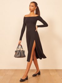 Reformation Ayla Dress in Black | rib knit dresses