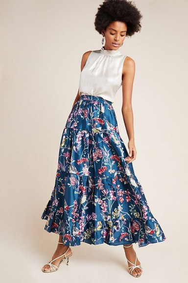 Denovo Tracie Tiered Maxi Skirt in Blue Motif