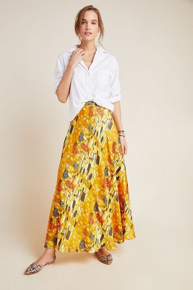 Nikasha Nicky A-Line Maxi Skirt in Yellow Motif