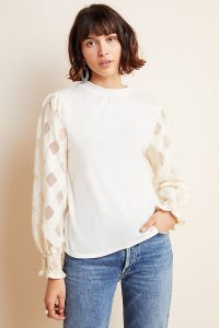 Ro & De Judith Top in Ivory ~ semi sheer sleeves