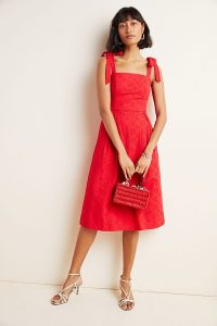 Hutch Kari Eyelet Midi Dress in Red ~ summer vintage style