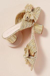 Loeffler Randall Emilia Heels in Gold ~ lame mules