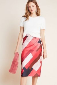 Hutch Rosario Abstract Midi Skirt Red Motif