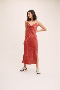 Anthropologie Bias Slip Dress in Red | cowl neck cami dresses