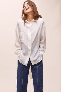 Tela Leza Silk Shirt in White | luxe shirts | high low hem
