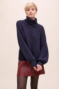 Selected Femme Femmi Turtleneck Jumper in Navy | blue chunky knits
