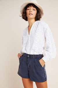 Anthropologie Enzo Pleated Utility Shorts in Slate