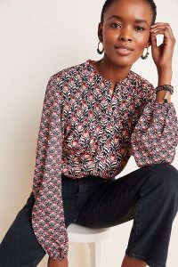 Denovo Jennifer Smocked Blouse in Rose | collarless smock detail top