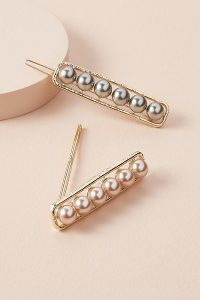 Anthropologie Pack of 2 Faux Pearl-Embellished Hair Clips