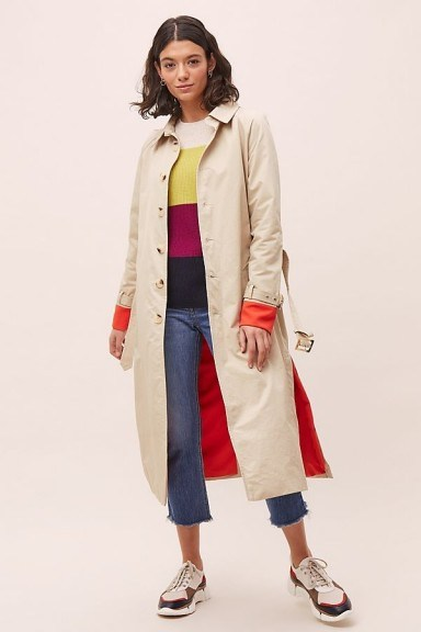 Zifa Colour-Pop Trench Coat in Sand - flipped
