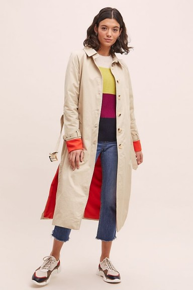 Zifa Colour-Pop Trench Coat in Sand
