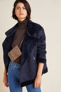 TheRiver by JTW Valencia Suede Moto Jacket in Navy