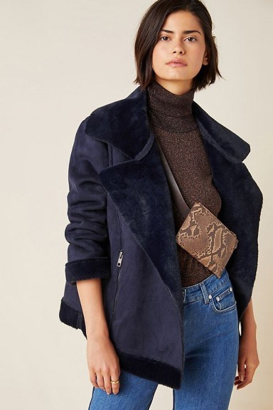TheRiver by JTW Valencia Suede Moto Jacket in Navy - flipped