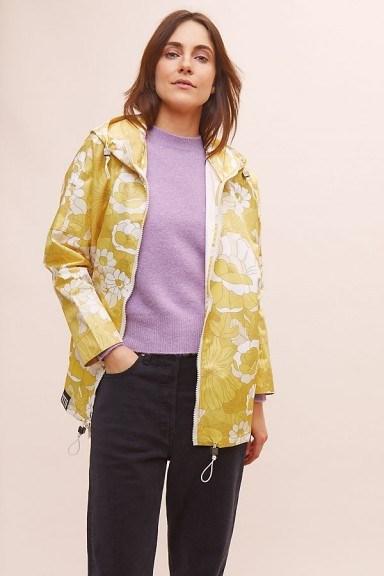 Insane in the Rain Woodstock Rain Coat in Yellow | floral raincoats 2020 - flipped