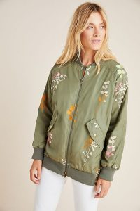 Ainsley Embroidered Bomber Jacket in Green Motif