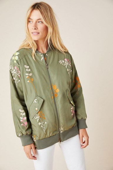 Ainsley Embroidered Bomber Jacket in Green Motif - flipped