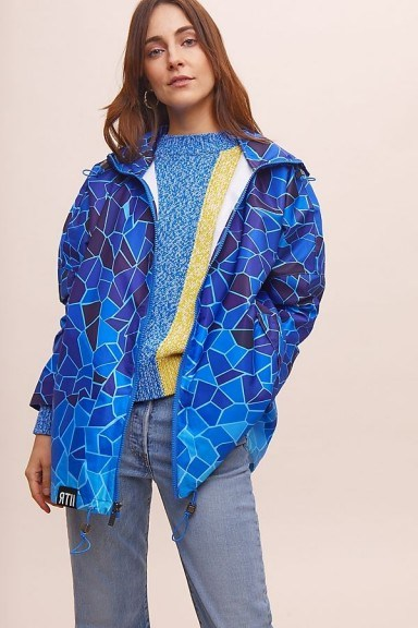 Insane in the Rain Tide Rain Coat in Blue | mosaic print raincoat | 100% recycled plastic outerwear - flipped