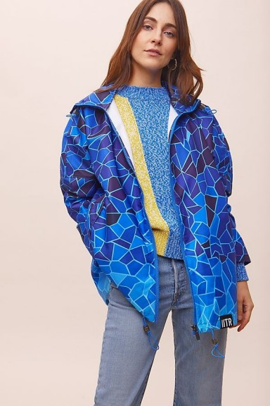 Insane in the Rain Tide Rain Coat in Blue | mosaic print raincoat | 100% recycled plastic outerwear