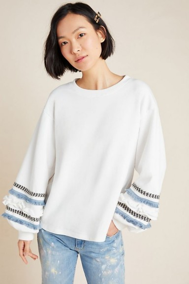 Junie – Patrice Puff-Sleeved Sweatshirt in White | fringe detail sweatshirts