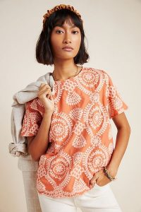 Eri + Ali Coralie Embroidered Blouse in Pink | casual luxe top